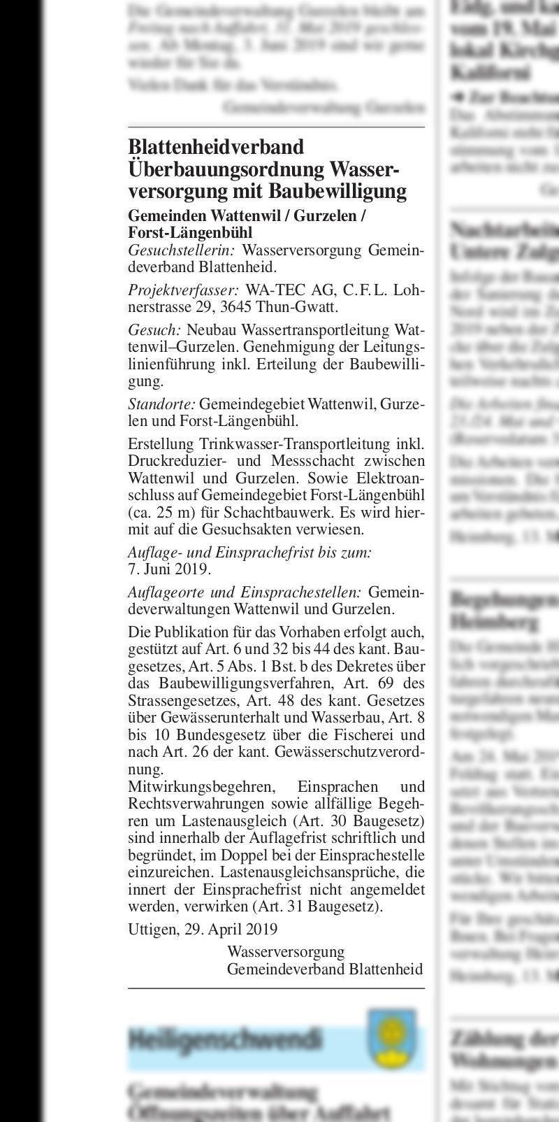 Blattenheidverband Uberbauungsordnung Wasserversorgung Mit Baubewilligung Thuner Amtsanzeiger